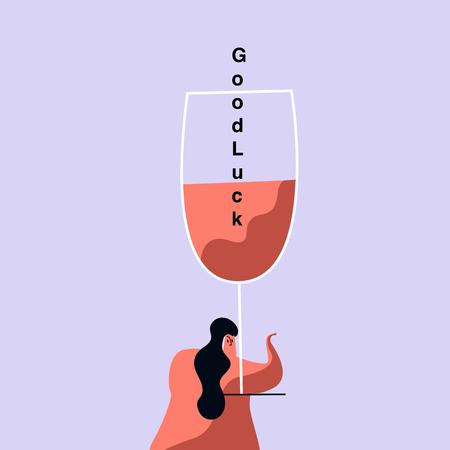 Celebratory drink on Valentine's Day vector Illustration