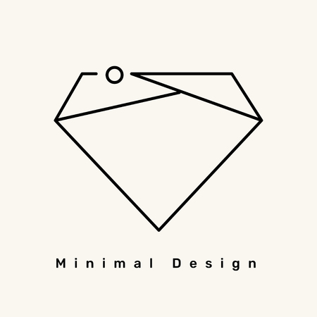 Minimal diamond logo on a cream background vector illustration