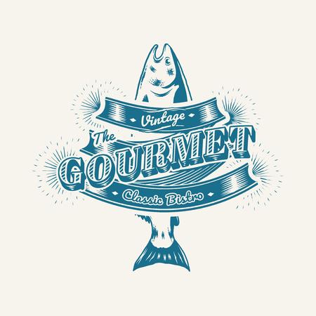 Illustrazione vettoriale di logo vintage ristorante di pesce