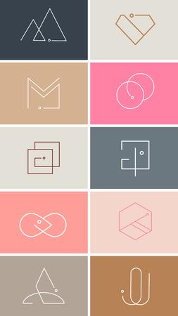 Colorful minimal design logo collection vector illustration
