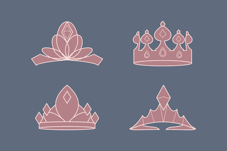 Pink luxurious royal crowns vector collection Illustration
