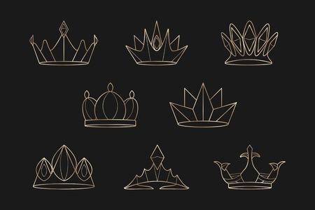 Luxurious geometric crown design collection vector illustration Иллюстрация