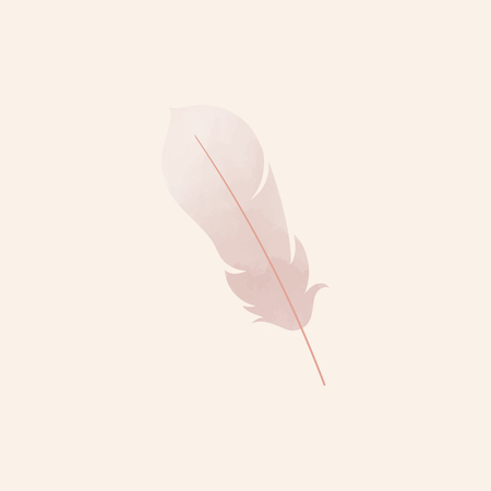 Single pink lightweight feather vector illustration