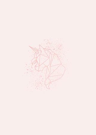 Shimmering magical pink unicorn vector illustration