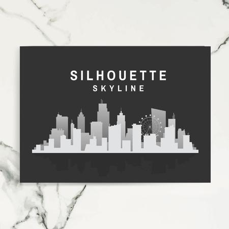 Silhouette skyline poster template vector illustration