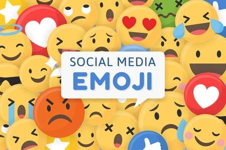 Social media emoji patterned background vector illustration Ilustração