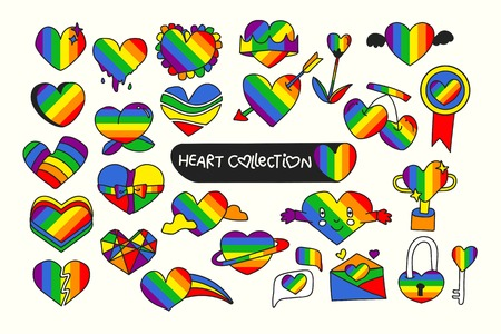 Rainbow heart design collection vector illustration