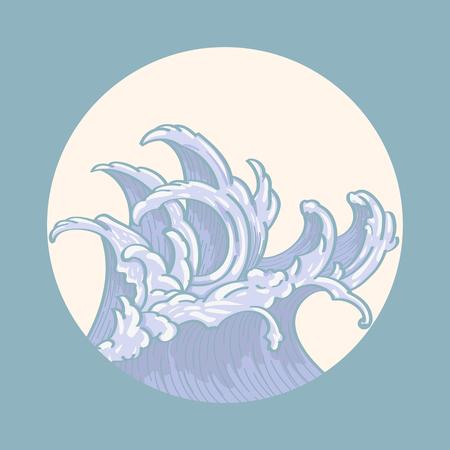 Blue Japanese wave background vector illustration Illustration