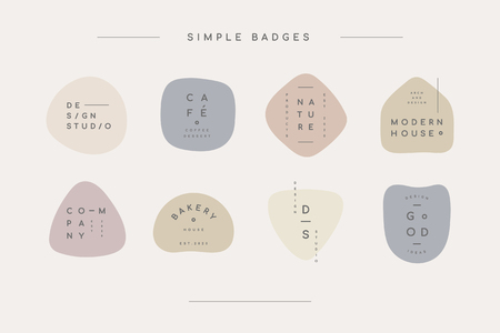 Simple pastel minimal badge collection, vector illustration