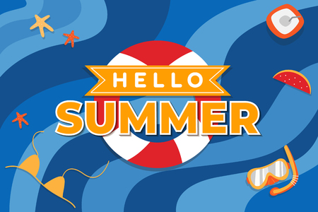 Snorkeling hello summer design, vector illustration