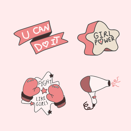 Pink girl power collection, vector illustration