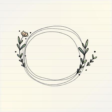 Doodle round floral wreath frame, vector illustration
