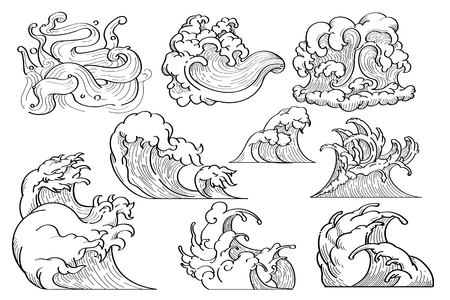 White Japanese wave background collection, vector illustration Çizim