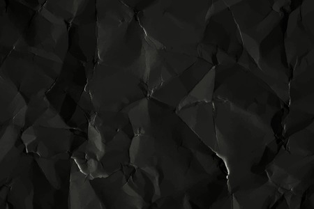 Crumpled black paper  background, vector illustration Ilustração