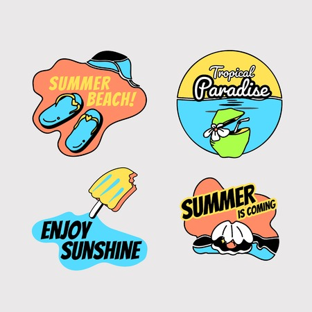 Tropical summer badge collection, vector illustration Standard-Bild - 121951922