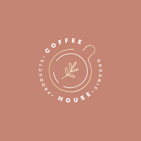Coffee house minimal logo, vector illustration