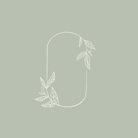 Oval botanical frame element, vector illustration  イラスト・ベクター素材