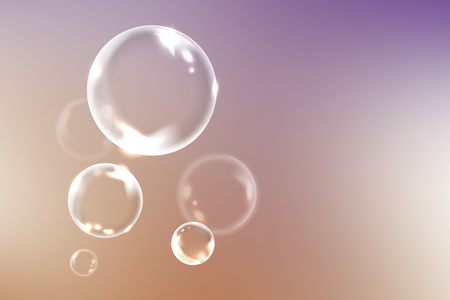 Soap bubbles on a colorful background, vector illustration