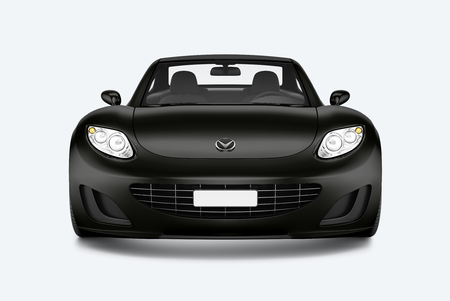 Front view of a black sports car in 3D illustration Stock Photo