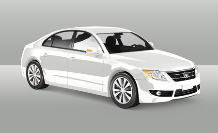 Side view of a white sedan in 3D illustration Stock Photo