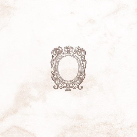 Baroque style frame on a blue textured background illustration