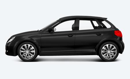 Side view of a black hatchback in 3D illustration