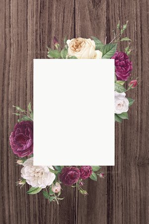 Rectangular frame decorated with roses illustration 写真素材