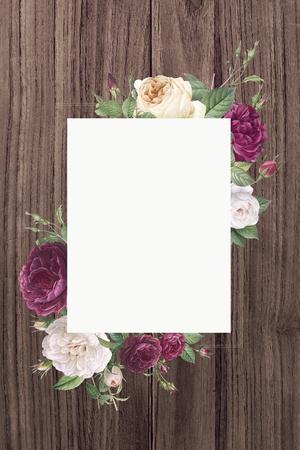 Rectangular frame decorated with roses illustration Stock Photo
