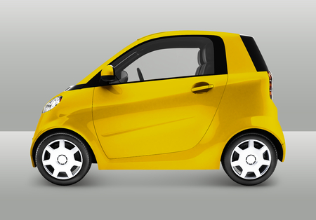 Side view of a yellow microcar in 3D illustration Stock Photo