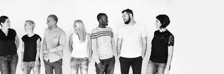 Group of cheerful diverse people in black and white Stock Photo