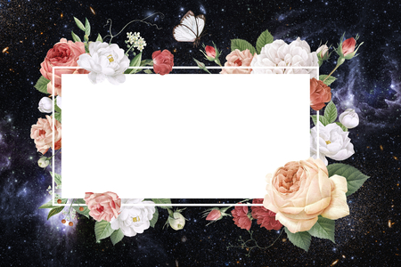 Rectangular frame decorated with roses illustration Фото со стока