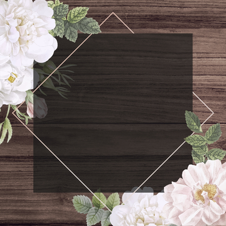Frame on a wooden background with musk rose illustration 写真素材
