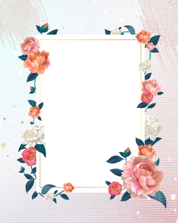 Blank white floral card template illustration