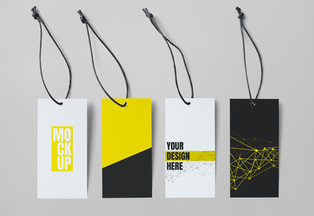 Yellow and white price tag mockups set