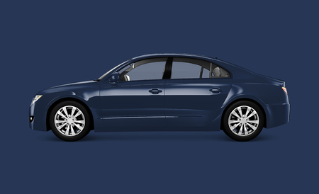 Side view of a blue sedan in 3D illustration