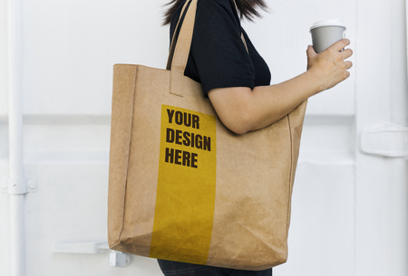 Design space on a blank brown tote bag 免版税图像