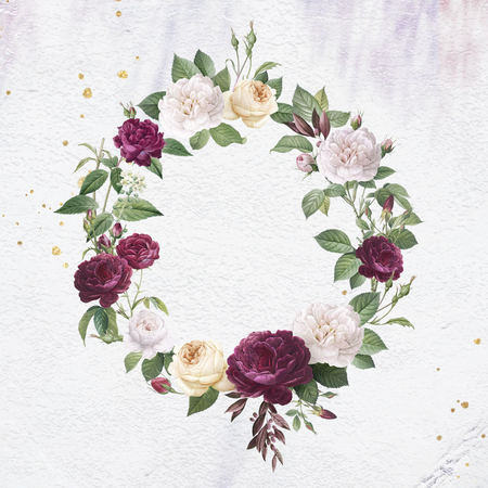 Floral wreath on a white concrete wall illustration