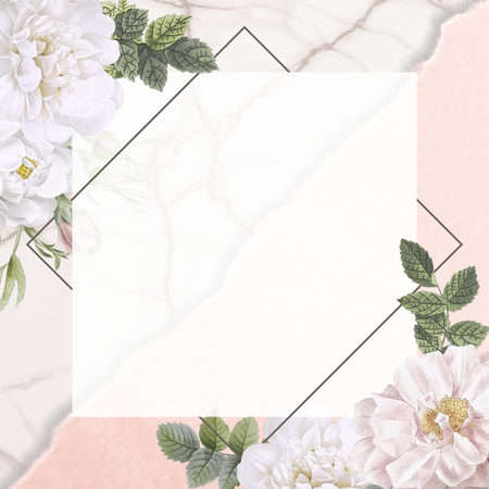 Frame on a marble background with musk rose illustration