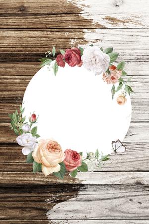 Floral round frame on a wooden background illustration