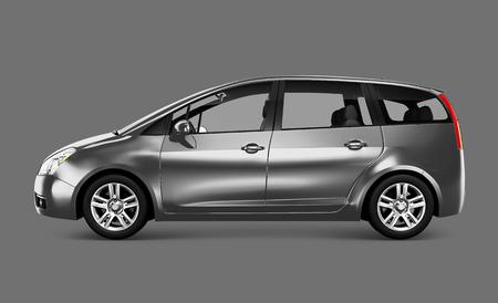 Side view of a silver minivan in 3D illustration Stock fotó