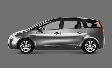 Side view of a silver minivan in 3D illustration Stock Photo