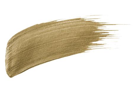 Golden brush stroke isolated on white background