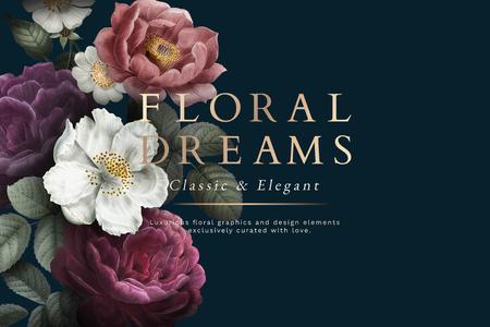 Sfondo a tema rosa e sogni floreali Archivio Fotografico