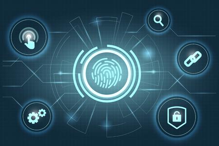 Blauer Fingerscan biometrischer Identitätshintergrund Standard-Bild