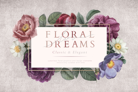 Floral dreams banner on a gray concrete wall illustration