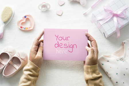 Baby shower pink card mockup