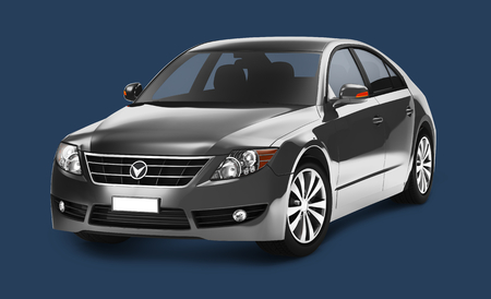 Side view of a gray sedan in 3D illustration