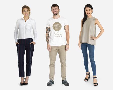 Diverse happy people wearing shirt mockups Reklamní fotografie