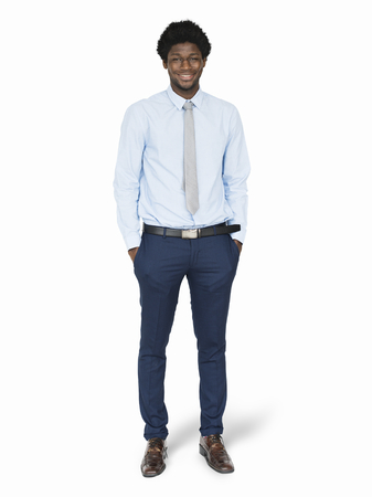 Black businessman in a blue shirt character isolated on a white background