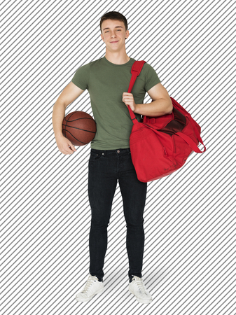 Sportive boy with his red duffel bag character isolated on striped background